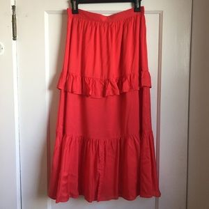 & Other Stories Red Tiered Midi Skirt